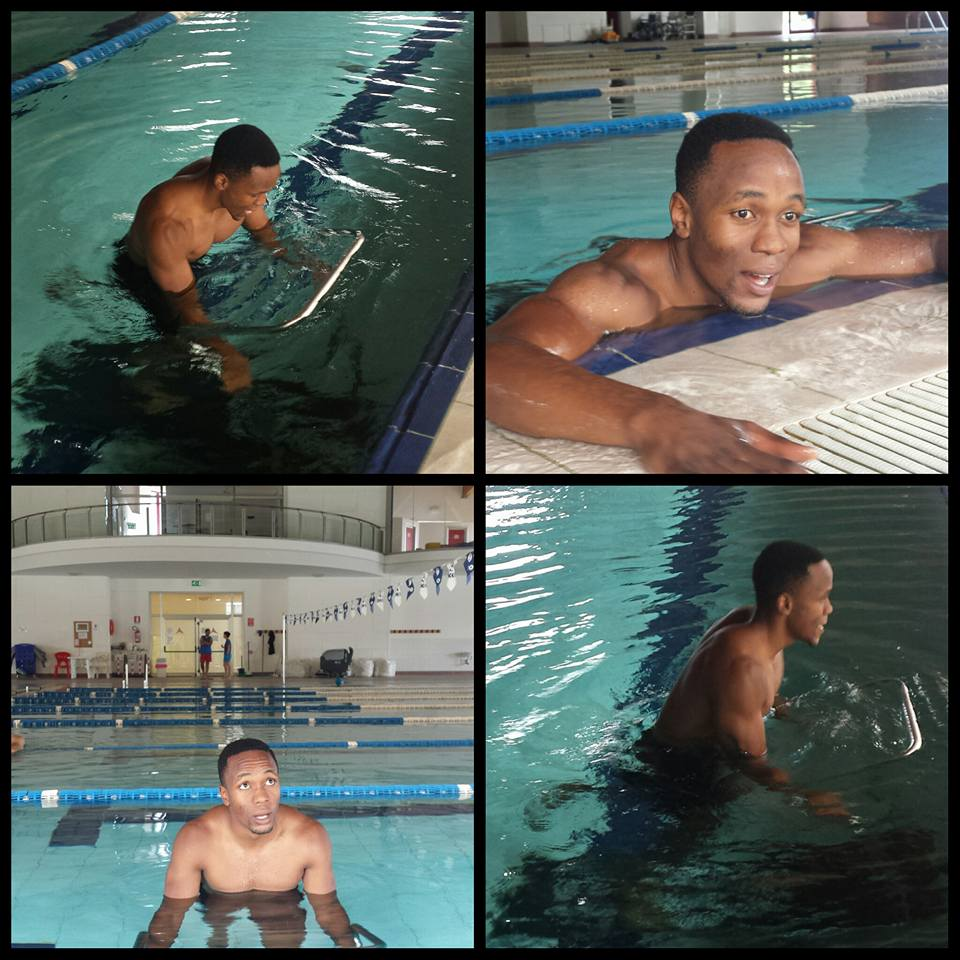 Akani Simbine busy with his pool session on a treadmill
