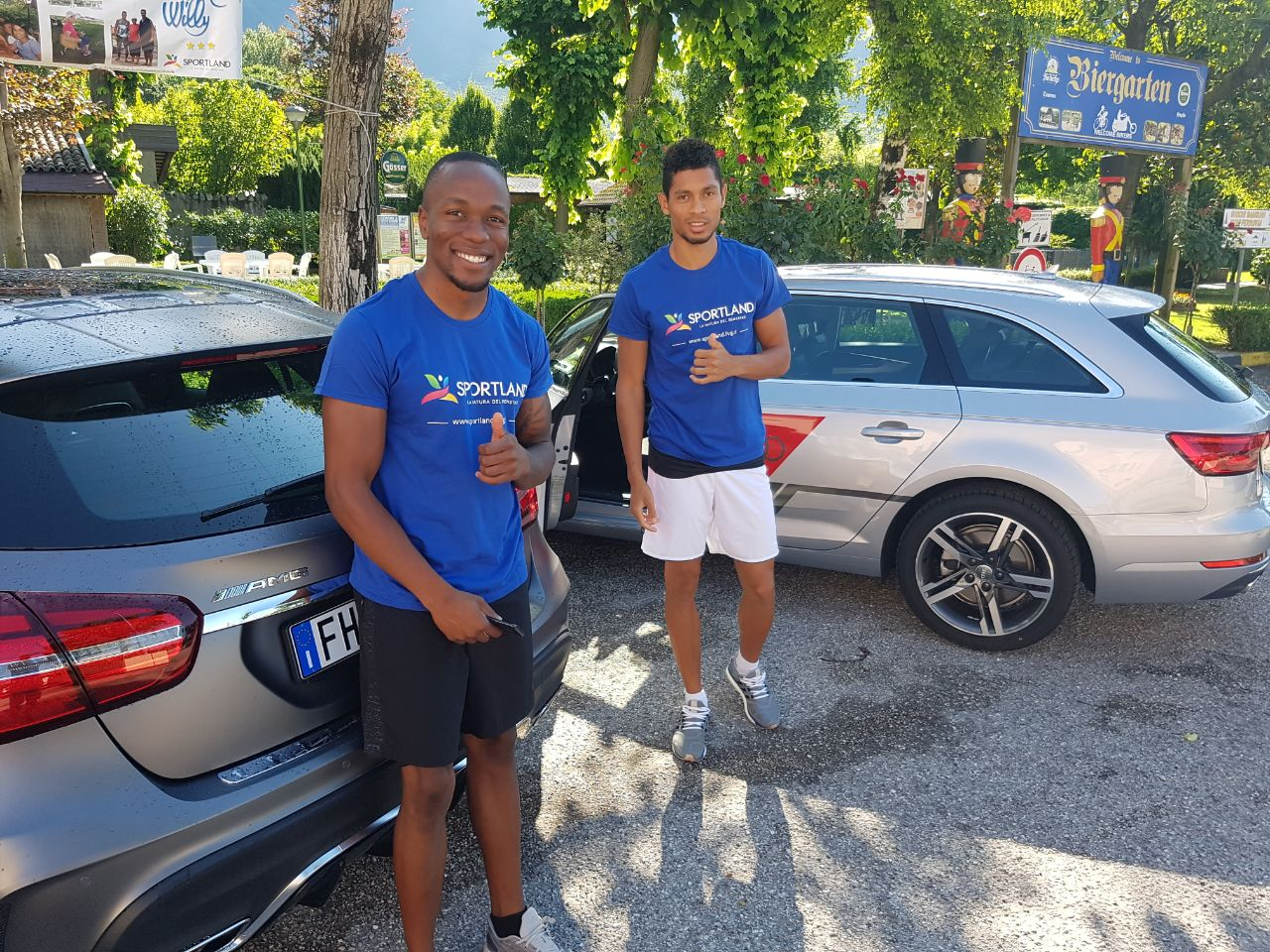 Wayde and Akani making use of their sponsored transport in Gemona